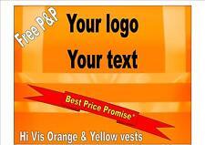 Hi Vis Vest Waistcoat Plain/Printed Safety Blackrock Orange Work Hens Stags