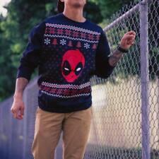 Marvel's Deadpool Black ugly holiday Christmas Sweater FLEECE S M L XL XXL NWT
