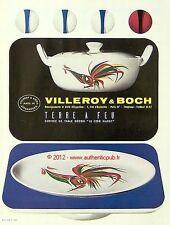 PUBLICITE VILLEROY & BOCH TERRE A FEU SERVICE DE TABLE COQ HARDY DE 1960 ADVERT