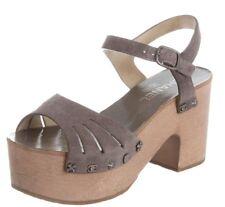 NEW NIB Chanel Platform Sandals Suede Dark Grey STUDS CC Cut Out Wood Shoes 41