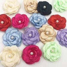 20pcs Satin ribbon bows flower with pearl wedding DIY appliques Upick A06