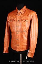 Men's WEST Tan Slim-Fit Western Trucker Cowboy Real Lambskin Leather Shirt