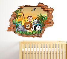 Adesivi Murali Bambini Buco nel muro 3D Animali della Savana Wall Sticker kids