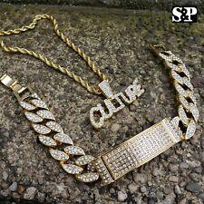 HIP HOP CULTURE LAB DIAMOND BLING NECKLACE & ICED MIAMI CUBAN BRACELET SET