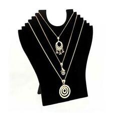 Porte bijoux buste plat pliant pour 6 colliers velours noir