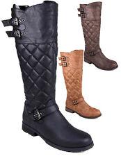 Ladies Calf Knee High Zip Up Flat Riding Biker Boots Womens Quilt Shoes Size 3-8