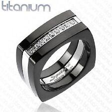 NEW MENS SOLID TITANIUM 2-TONE BLACK RING CZ DETAIL ENGAGEMENT BAND (D20)