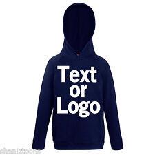 Deep Navy Blue Kids Childrens Lightweight Hoodie Personalised Printing Text Logo