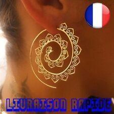 Boucle D'Oreille Ethnique Ronde Spirale Femme Amour Coeur Bijoux Idée Cadeau