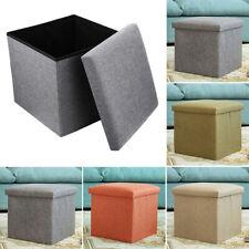 Foldable Linen Pouffe Footstool Sofa Ottoman Folding Footrest Seat Lounge Storag