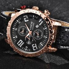 Lujo hombre fecha militar acero inoxidable cuero Deporte Cuarzo Reloj de pulsera