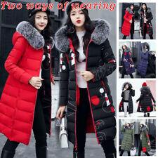 Women Winter Jacket Fur Hooded Long Down Warm Parka Quilted Puffer Coat Outwear