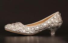 womens low heels round toe slip on rhinestones wedding bridal shoes prom pumps