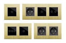LUX Touch Aluminium Glas Lichtschalter Steckdosen USB HDMI Gold/Schwarz POINT