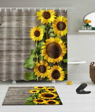 Sunflower Wood Board Bathroom Waterproof Shower Curtain +Hooks Set Bath Mat Rug