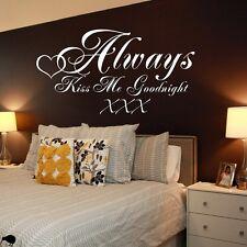 Baciami sempre Buonanotte Wall Art Citazione Adesivo-camera da letto-ART DECOR-WALL ART