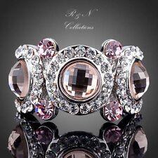 Platinum Plated Pink Made With Swarovski Austrian Crystal Eyes Ring R208-17