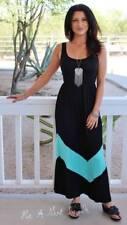 BLACK MINT GREEN CHEVRON STRIPED BOHEMIAN TANK LONG MAXI DRESS BOHO S M L USA