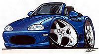 1999-2005 mazda miata mx-5 mx5 Blue Cartoon T-shirt available in sizes S-3XL