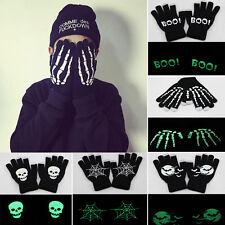 Noctilucent Skeleton Phone Tablet Touch Screen Gloves Hand Skull Knitting Mitten