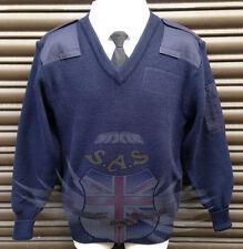 Maglione blu della polizia da combattimento, Blu Navy Lanoso Pullover gomiti rinforzati & Spalline