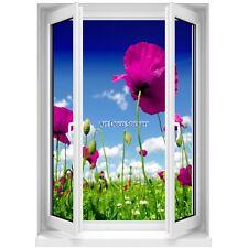 Sticker mural Fenêtre trompe l'oeil Fleurs 5377 5377