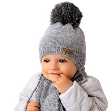 DE Warme Wintermütze Strickmütze Bommelmütze Babymütze 39-44 cm 4-6 Monate NEU