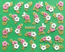 Rose Chrysanthemum Flower Golden & Silver Rhinestone 3D Nail Art Sticker BLE328J