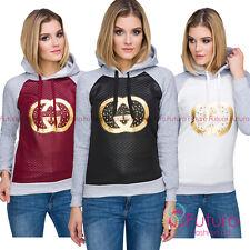 Ladies Warm Quilted Hoodie Hoody Long Sleeve Sweatshirt with Gold Print FZ98