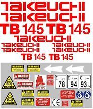 Decal Sticker Set Pour: Takeuchi TB145 Mini Digger Pelle Bagger Pelleteuse