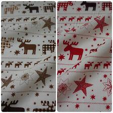 Cream 100% Cotton fabric with Reindeer Fairisle - 2 Colours (Per Metre)