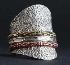 Extra Breiter Spinner Ring Drehring 925 Sterling Silber bewegliche Ringe 24 mm