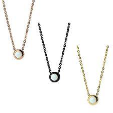 Collar acero inoxidable 50cm con ópalo en blanco Collar en oro, Negro O Oro Rosa
