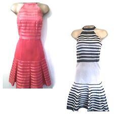 Nouveau KAREN MILLEN dos-nu ruban robe en soie taille 8 rose corail ou noir