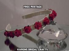 1 ROSE SATIN HAIRBAND BRIDAL WEDDING BRIDESMAID 50 + COLOURS ACCESSORIES