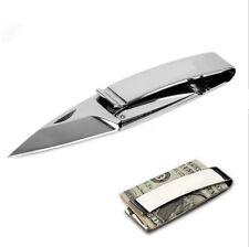 Mens Money Clip Folding Slim Stainless Steel EDC Tool Silver Black Cash Holder