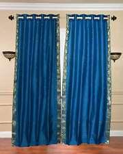 Turquoise Ring Top  Sheer Sari Curtain / Drape / Panel  - Piece