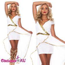 Ladies Cleopatra Egyptian Roman Toga Robe Greek Goddess Fancy Dress Costume