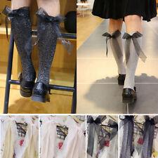Pair of Sheer Glitter Soft Knee High Long Socks Lolita Pin-Up Sheer Bow Vintage