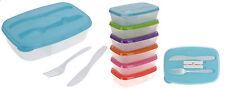 PLASTIQUE Lunch Box avec Couverts en plastique Picnic Camping Caravane Set 2 compartiments