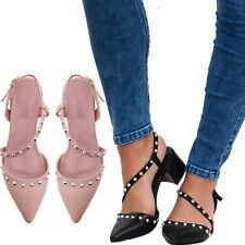 Scarpe donna sabot sandali decollete punta borchie tacco grosso eleganti ZA6330