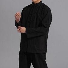 Chinos Hombre Camisa Algodón Lino Manga Larga Rana botón sólido Abrigo Suéter