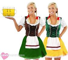 LADIES OKTOBERFEST COSTUME GERMAN BEER MAID BAVARIAN FANCY DRESS CHOOSE COLOUR
