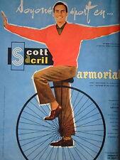 PUBLICITÉ 1960 SCOTT SACRIL ARMORIA PULL CHEMISETTE EN CRYLON SOYONS SPORT VÉLO