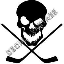 Skull with Hockey Sticks Vinyl Sticker Decal Goalie - Choose Size & Color