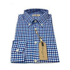 BRANCACCIO camicia uomo manica lunga quadri azzurro/blu 100% cotone vest comoda