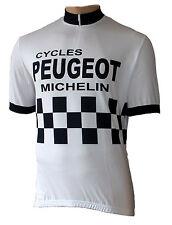 Radtrikot Peugeot Retro weiß kurzarm (auch Übergrößen bis 6XL)