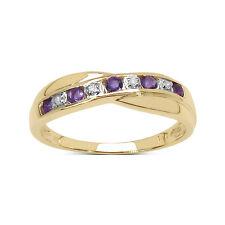 9CT GOLD AMETHYST & DIAMOND CHANNEL SET ETERNITY RING SIZE I - W ANNIVERSARY