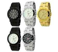 Authentic Geneva Waterproof Watch Date Big Face Heavy link Golden,Black,Silver