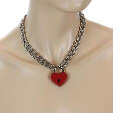 Heart Padlock Lock Pendant Charm  Choker Necklace Punk Goth Pinup Valantine